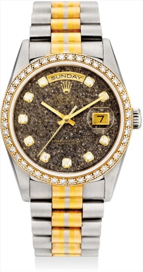 A fine and rare three-colour gold and diamond-set calendar wristwatch with sweep centre seconds, grey fossil hardstone dial and bracelet