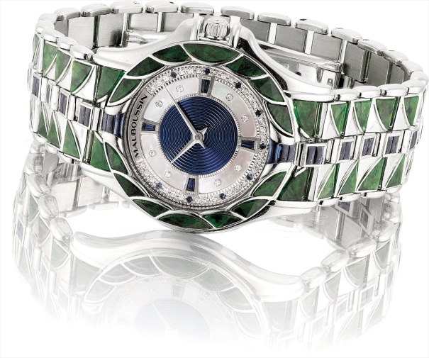 A lady's fine white gold, diamond, sapphire and jasper-set wristwatch with mother-of-pearl dial and bracelet