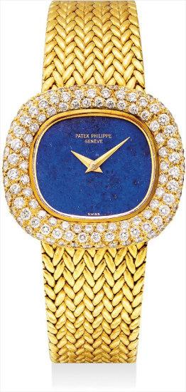 A lady's fine and rare yellow gold, lapis lazuli and diamond-set bracelet watch
