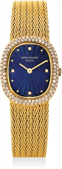 A lady's fine and rare yellow gold and diamond-set cushion-shaped bracelet watch with blue guilloché enamel dial