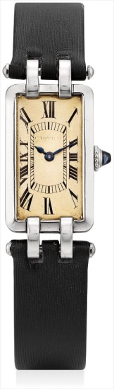 A fine and rare platinum wristwatch with unusual lugs with movement by European Watch and Clock Company