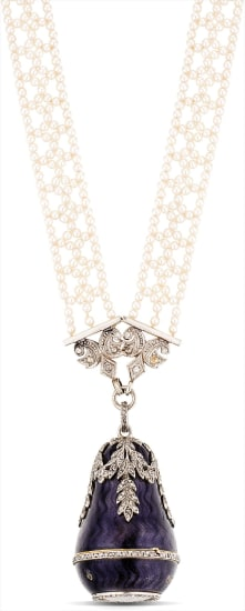 A lady's fine and very rare platinum, yellow gold, enamel and diamond-set pear-form Louis XVI-style pendant watch with pearl strand necklace