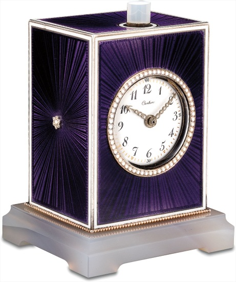 A very rare and attractive platinum, silver, moonstone, agate and diamond-set guilloché enamel minute repeating desk clock