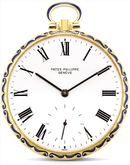 A fine and unique yellow gold and enamel openface watch