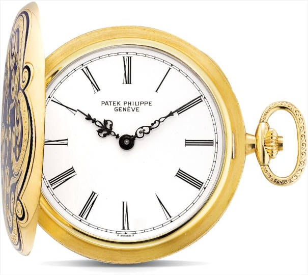 A very fine and unique yellow gold and enamel hunter case pocket watch
