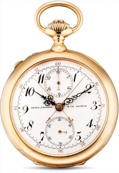 A fine and rare pink gold split seconds chronograph openface watch with vertical register
