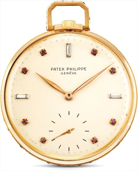 A fine and rare pink gold, diamond and ruby-set openface dress watch
