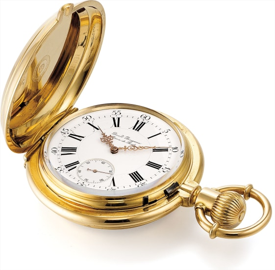 An exceptionally rare and historically interesting yellow gold hunter case observatory three bridge tourbillon pocket watch with long pivoted detent escapement