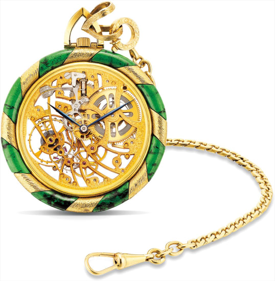 A very rare and unusual yellow gold and jade-set skeletonised dress watch with gold chain
