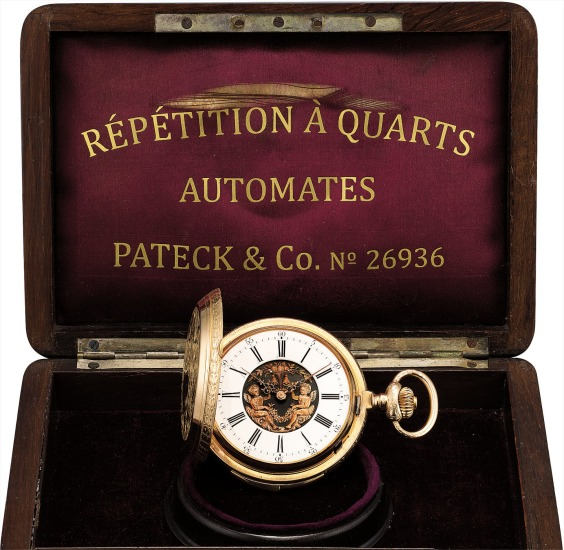 A rare pink gold hunter case quarter repeating pocket watch with jaquemarts
