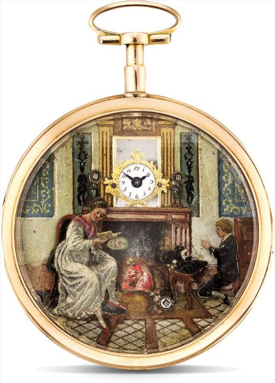 An exceptionally and historically important pink gold automata openface watch with enamel scene of the Battle of Fleurus