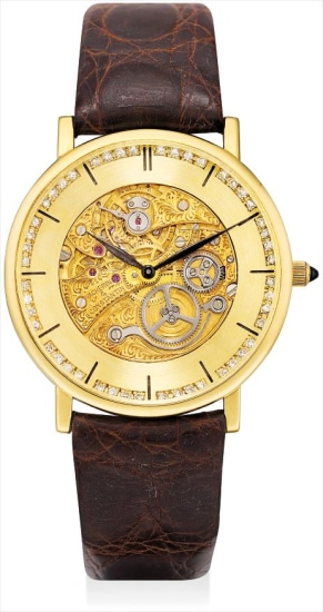 A fine yellow gold and diamond-set skeletonised wristwatch