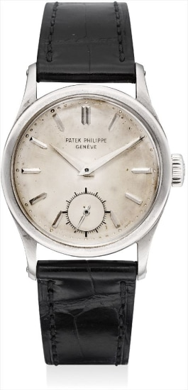 A fine and very rare white gold wristwatch