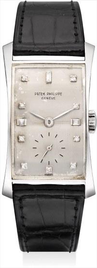 A fine and rare platinum and diamond-set rectangular wristwatch