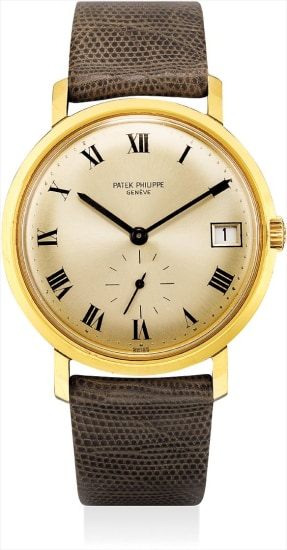 A fine and rare yellow gold wristwatch with date, Roman numerals and original certificate