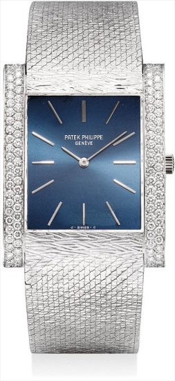 A fine white gold and diamond-set rectangular bracelet watch