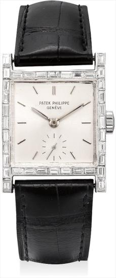 A fine and rare platinum and diamond-set square wristwatch