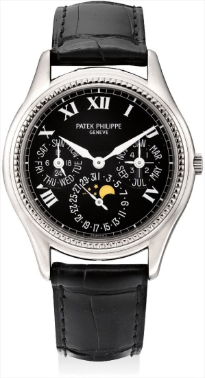 A fine and rare white gold limited edition perpetual calendar wristwatch with moon phases, 24 hours, leap year indicator and original certificate