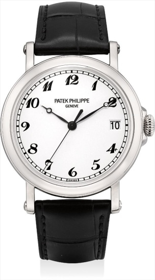 A fine and very rare white gold limited edition wristwatch with sweep centre seconds, date and original certificate, made to commemorate the re-opening of the Patek Philippe boutique in Beijing in 2014