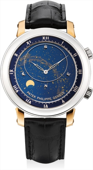 A fine and rare pink gold and platinum astronomical wristwatch with sky chart, phases and orbit of the moon and time of Meridian Passage of Sirius and of the Moon, original certificate and fitted presentation box