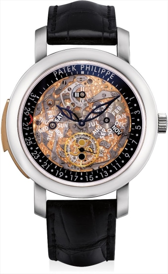 An exceptional and very rare platinum and pink gold semi-skeletonized minute repeating perpetual calendar wristwatch with retrograde date, moon phases, leap year indicator, original certificate and fitted presentation box