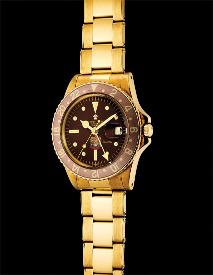 A fine and very rare yellow gold dual time wristwatch with sweep centre seconds, date in Arabic and bracelet, made for His Highness Sheikh Mohammed bin Rashid Al Maktoum