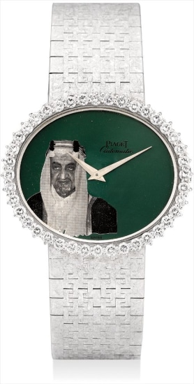 A fine and very unusual white gold and diamond-set bracelet watch with portrait of His Highness Fayçal ben Abdelaziz Al Saoud