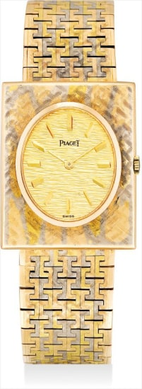 A fine and rare three-color gold rectangular bracelet watch with champagne dial