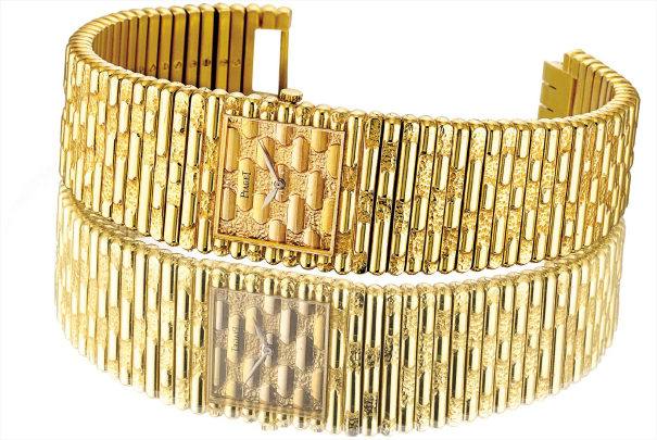 A rare and heavy yellow gold square bracelet watch