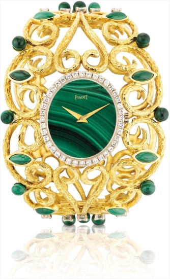 A lady's very large and very rare yellow gold, malachite and diamond-set bangle watch with original fitted presentation box