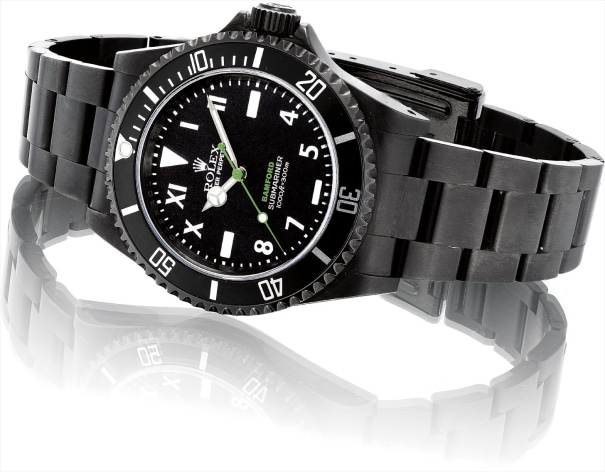 A black PVD-coated stainless steel limited edition wristwatch with sweep centre seconds, California dial and bracelet
