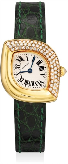 A lady's fine yellow gold and diamond-set navette-shaped wristwatch