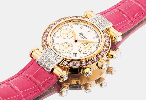 A lady's fine yellow gold, diamond and pink diamond-set chronograph wristwatch with date