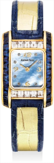 A lady's fine and rare yellow gold, diamond and sapphire-set wristwatch with mother-of-pearl dial