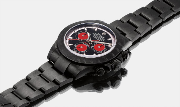 A rare black DLC-coated stainless steel limited edition chronograph wristwatch with bracelet