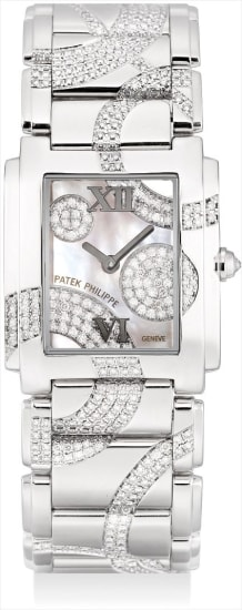 A lady's fine and very rare white gold and diamond-set rectangular bracelet watch with mother-of-pearl dial