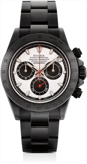 A black PVD-coated stainless steel limited edition chronograph wristwatch with bracelet