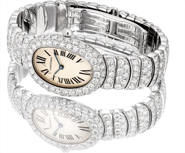 A fine and impressive white gold and diamond-set bracelet watch