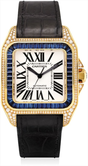 A fine and rare yellow gold, diamond and sapphire-set square wristwatch with sweep centre seconds