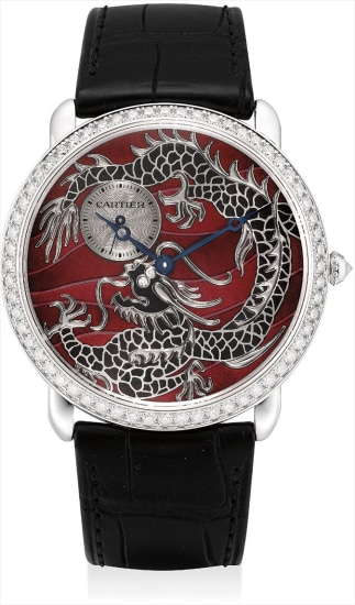 A very fine and rare white gold and diamond-set limited edition wristwatch with cloisonné enamel dial