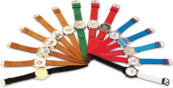 A group lot of 14 wristwatches with sweep centre seconds, comprised of 9 stainless steel and 5 yellow gold plated wristwatches, 'La Revolution Francaise'