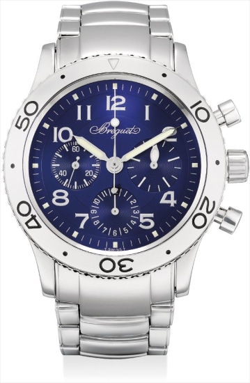 A stainless steel flyback chronograph wristwatch with date and bracelet