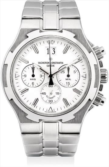 A stainless steel chronograph wristwatch with date and bracelet
