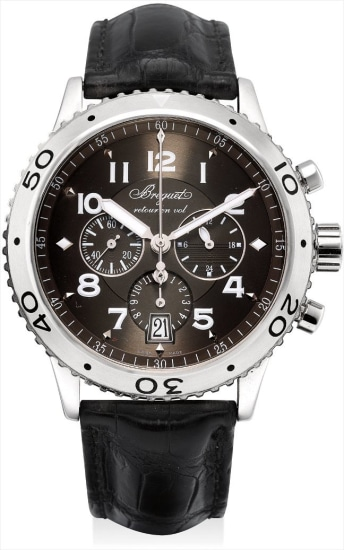 A stainless steel flyback chronograph wristwatch with date and 24 hours
