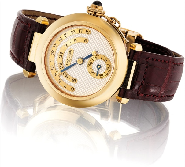 A fine and rare yellow gold limited edition jump hour wristwatch with day and night indicator