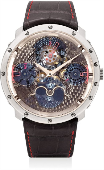 A fine white gold skeletonised perpetual calendar wristwatch with leap year indicator and moon phases