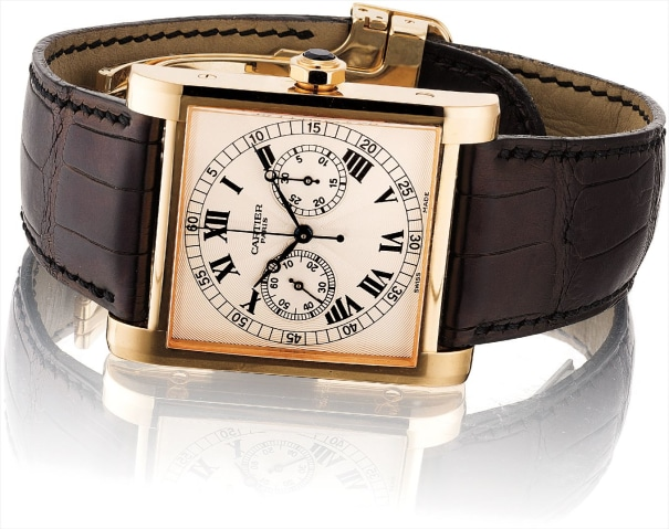 A fine and rare pink gold limited edition single-button chronograph rectangular wristwatch