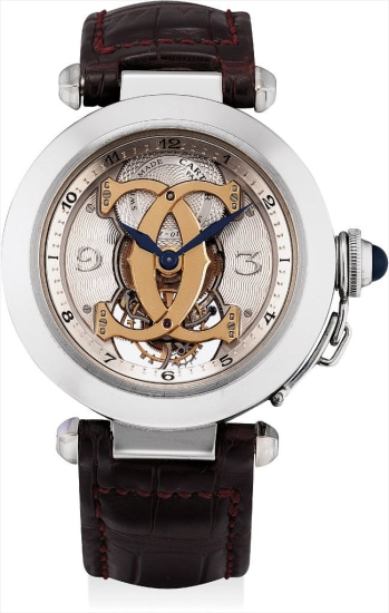 A fine and very rare white gold limited edition semi-skeletonised tourbillon wristwatch