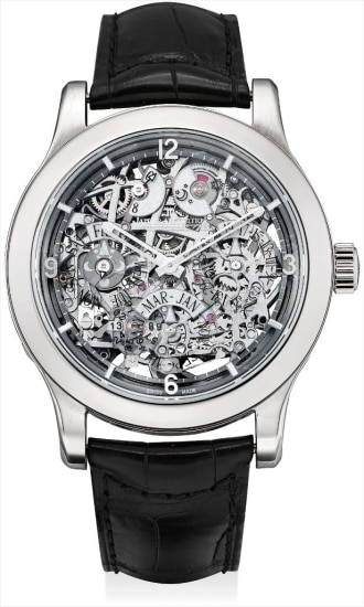 A fine and rare platinum limited edition perpetual calendar skeletonised wristwatch 8 day power reserve, day of the week, digital year display, day and night indicator and moon phases