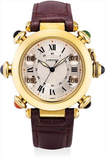 A fine and rare yellow gold and multi gem-set wristwatch with sweep centre seconds and golf stroke counters